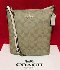 NEW COACH SIGNATURE PVC NS CROSSBODY BAG LIGHT KHAKI/CHALK F58309 $195