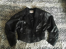 Vintage Black Leather Batwing Jacket unique 80's