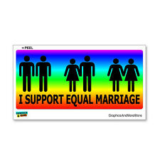 I Support Equal Marriage Rainbow - Gay Rights Equality Bumper Sticker