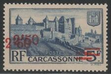 "FRANCE YVERT 490a SCOTT 411a ""CARCASSONNE DOBLE SURCH""  MNH VF EXPERTIZED SCARCE"