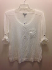 Gap White Linen Cotton Blend Henley Sweater, XXL 2XL, New With Tags, 3/4 Sleeves