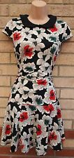 PRIMARK GREY WHITE BLACK GREEN RED FLORAL SKATER PETER PAN COLLAR TEA DRESS 10 S