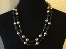 Vintage Necklace Smoked Glass and Plastic Beads ~ Ornate Back Clasp