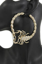 Women Big Hoops Gold Metal Large Fashion Earrings Set Scorpion Hook Bead Hip Hop