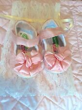 Gracious May Pink Silk Bow Mary Jane Baby shoes Size Infant 3