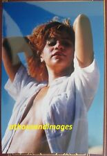80s Photo/Sexy Hispanic Woman Close-Up with Shirt Parted Open Flat Stomach T123