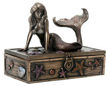 Mermaid on Treasure Box Statue Sculpture Figurine - GIFT BOXED