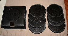 JR Cigars Company Leather Coasters, Black, Set Of 8, With Leather Box