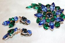 JULIANA D&E Vintage Exquisite Blue Green Rhinestone Navette Chaton Brooch Set SD