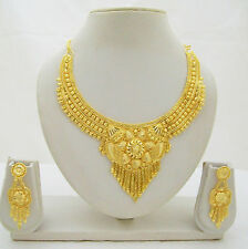 Gold Plated Ethnic Necklace Earrings Set Indian Traditional Wedding Jewelry