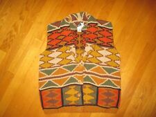 Ladies Vintage Rafaella Handknit Aztec Indian Blanket Sweater Vest Size Medium