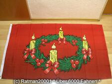 Fahnen Flagge Frohe Weihnachten Adventskranz - 90 x 150 cm