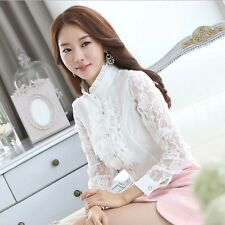 Women OL Elegant Ruffles Lace Chiffon Shirt Lace Sleeve Button Down Blouse S-XXL