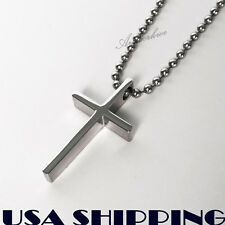 Small Polished Stainless Steel Crucifix Cross Mens / womens Necklace