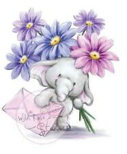 New Wild Rose Studio Clear cling rubber stamp BELLA W FLOWERS romance Elephants