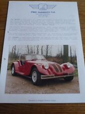 PIKE AUTOMOTIVE INVADER  KIT CAR SALES 'BROCHURE'/SHEETS 1987