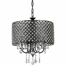 Afaura Antique Black Round Drum Shade 4-Light Crystal Chandelier Ceiling Fixture