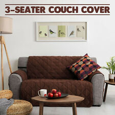 Couch Cover 3 Seater Removable Fabric Sofa Slip Throw Protector Furniture BROWN