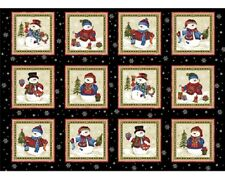 Winter Wishes Christmas Black Snowman Snowmen Panels Cotton Quilting Fabric