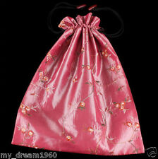 Beautiful Satin Silk Embroidered Flower Shoes Bag Travel Bag Pouch-Pink