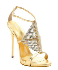 $1395 Guiseppe Zanotti Gold Leather Crystal Mesh Coline Sandals 41 11 10 NIB