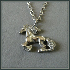 Baroque Horse Galloping Pendant Stainless Steel Equestrian Jewelry Dragons Fly