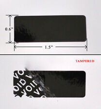 "2,000 SECURITY LABEL SEAL STICKER BLACK TAMPER EVIDENT 1.5"" X 0.6"" VOID WII XBOX"