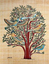 "Egyptian Papyrus - Hand Made - 12"" x 16"" - Ancient Art - Acacia Tree Of Life"