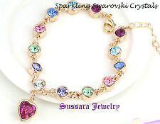 Made with Swarovski Heart Multi Color Crystal 18K Gold Plated Bracelet w/ Tag