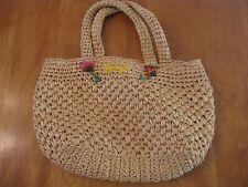 Vintage Saks Fifth Avenue Straw Bag Purse Hobo Summer Beach Tote Flowers