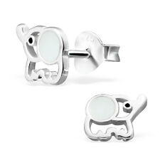 Childrens Girls 925 Sterling Silver ELEPHANT Stud earrings boxed