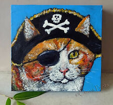 Pirate Ginger Cat Original Acrylic Painting Canvas Art Steampunk Skull Eyepatch