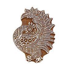 Indische Holz Textil Pfau Grenze Stempel braun Textile Printing Block