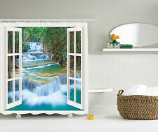 Landscape Decor Waterfall in Forest Jungle Nature Scenery Fabric Shower Curtain