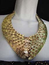WOMEN GOLD METAL PLATES FASHION SNAKE SKIN NECKLACE RHINESTONES + EARRINGS SET