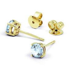 Ladies 9ct Yellow Gold & Aquamarine Stud Earrings