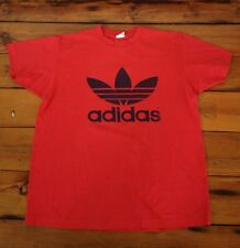 Vintage Adidas 50/50 Trefoil Run DMC Era Design Red Black T-Shirt USA Made L-XL