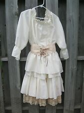 Women's Renaissance Medieval Ivory Dress Costume M/L Maiden 3 Piece Lace