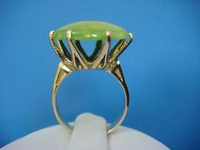 !UNUSUAL 14K YELLOW GOLD VINTAGE JADE LARGE HIGH SET RING, 6.5 GRAMS, SIZE 6.75