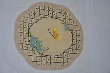 ANTIQUE Stickley Era ARTS & CRAFTS MISSION EMBROIDERY Oatmeal Linen Table Round*