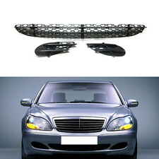 For Benz  W220/S-Class 1999-2005 3PCS Front Bumper Fog Lamp Cover + ABS Grille