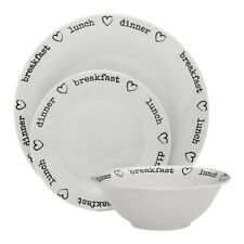 12pc Charm Hearts Dinner Set Porcelain Breakfast Lunch Dinner Text Design Dining