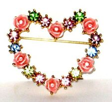 Avon Signed Carved Roses Pink, Green, Blue Rhinestones Rose Heart Pin / Brooch.