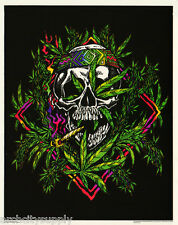 POSTER : MARIJUANA THEME : REEFER MADNESS - SKULL  - FLOCKED! #FL3251F  RP77 G