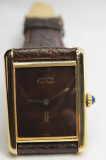 Vintage Cartier Tank 925 Argent Gold Plated Manual Wind MENS  Watch 979 SWISS