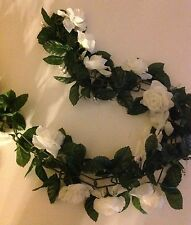 White Rose Garland (4) Baby breath 5 ft long wedding baby shower anniversary