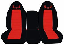 Fits 07-14 Chevrolet and GMC Trucks 40-20-40 Black Red Antler Seat Covers