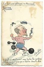 France Rouvier as  muscleman handpainted cartoon postcard signed HÉRE ~1906