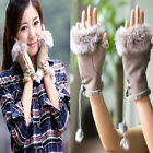 High Quality Women's Rabbit Fur winter leather Warm Fingerless Gloves