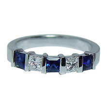 Vintage Sapphire Princess Diamond 5 stone Ring Band 18K White Gold Estate